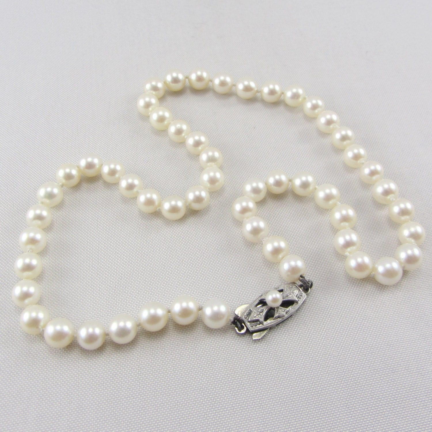 Vintage Pearl Choker Necklace: RESERVED LISTING Vintage Mikimoto Pearl Necklace With