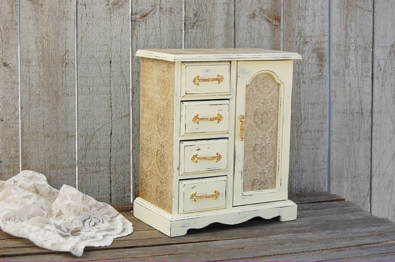Jewelry Box Jewelry Armoire Shabby Chic French Ivory