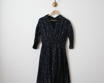 vtg 50s sapphire blue dotted silk dress