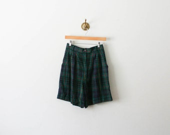 vintage 80s plaid forest green shorts