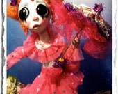 Clown Art Doll Gothic - Creepy Cute - Sad Doll - Circus Doll