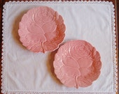 Pink Majolica Lunch Plates, Bordallo Pinheiro Pottery Majolica Rose Plate Set, 2 Decorative Floral Plates, Wedding Buffet Serving, Cottage