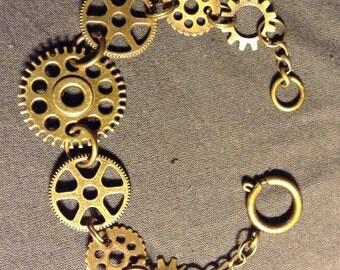 Steampunk Bracelet (brass gears)