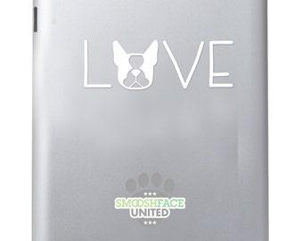 Boston Terrier decal vinyl sticker - Boston Terrier LOVE text with dog silhouette - Smooshface United breed bias