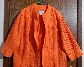Tanjay Womens 14 Orange Open Front Jacket Eyelet + Pin Tuck Design