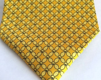 Gap Premium Neckwear Yellow Abstract Geometric Tie 100% Silk, Free US Shipping