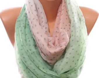 Valentine's Day Heart Printed Mint Salmon White Woman Scarf Lightweight Infinity Scarf Women Fashion Accessories Gift Ideas  For Her For Mom