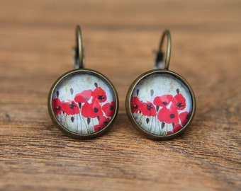 Poppy Earrings, Red Poppies, Red Earrings, Floral Earrings, Red Flower, Glass Dome Earrings, Dangle Earrings