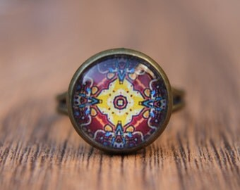 Red and Yellow Ring, Moroccan Ring, Middle East, Statement Ring, Adjustable Ring, Kaleidoscope