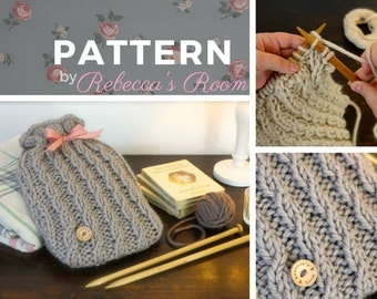 Hot Water Bottle Cover Knitting PDF PATTERN - The Seafarer Cosy (cozy) Hottie Cover, PDF, winter knit, cable, wool, gift, warm, bedroom,