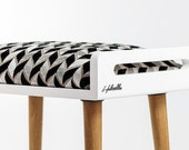Stool / Seat / stool / Ottoman / bench in white lacquer and oak legs