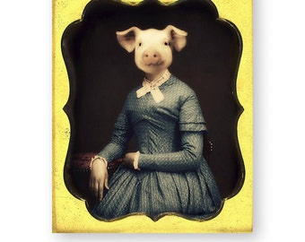 "Pig Art Print, Novelty Gift, Funny Art, Farm Animal, Mixed Media Collage, Anthropomorphic, ""Miss Pinkly, The Schoolmarm"""