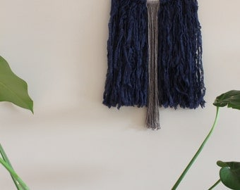 Feathery Wool & Bamboo Wall Hanging