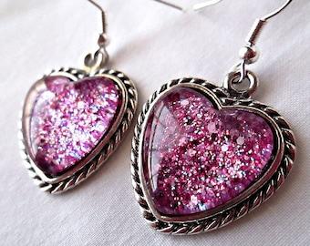 Grape Purple Heart Earrings; Hand Painted Glass Heart Dangle Earrings; Handmade Nail Polish Jewelry; Silver Heart Earrings; Heart Jewelry