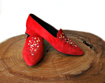 Italian red suede pointed toe shoes with jewel embellishments.  Size US 7 , UR 37.5 , AUS 5.5 . suede loafers.