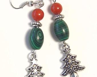 "Cynthia Lynn ""TIS THE SEASON"" Red Coral and Green Malachite Christmas Tree Earrings 2.5"""