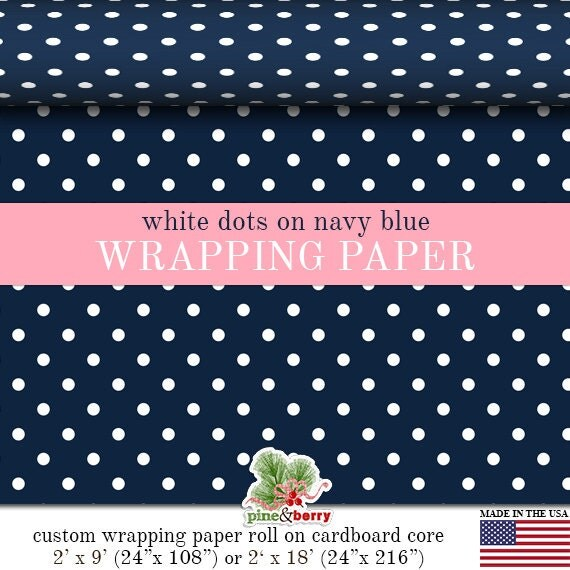 white polka dots on navy blue wrapping paper by. Black Bedroom Furniture Sets. Home Design Ideas