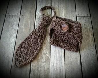 Crochet necktie photo prop, 1st birthday tie. Prop set