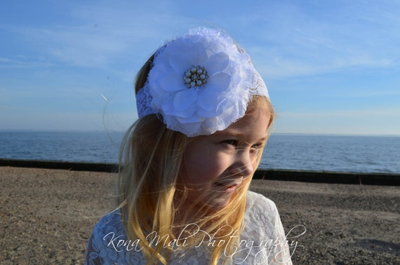 White Flower Headband, Lace Flower Headband, Flower Girl Headband, Wedding Headband, Wedding/Flower Girl Hair Accessory, Baby Girl Headband