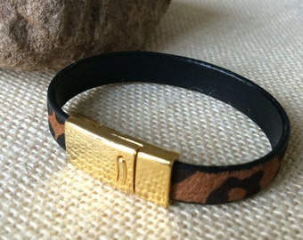 Leopard Print Pony Hair Leather Bracelet, Cuff, Hair On Leather, Black and Brown, Leather Bracelet, Women's Leather Bracelet,Gold Tone Clasp
