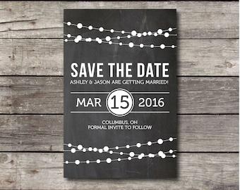 Blackboard Save the Date Postcard - Customizable - Digital Ready to Print File