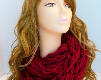 Red Arm Knit Infinity Scarf Chunky Yarn with Metallic Poinsettia Color