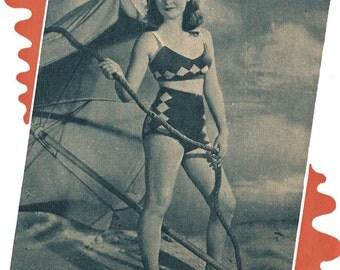 1940s Knitting Pattern for Womens 2 piece swimsuit / bikini / bathing suit with Intrasia Diamond Pattern - 36 bust - Digital PDF