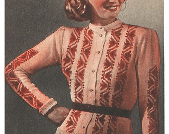 1940s Knitting Pattern for Womens Cardigan / Jacket with Colorwork - 35 in 88 cm bust - Digital PDF