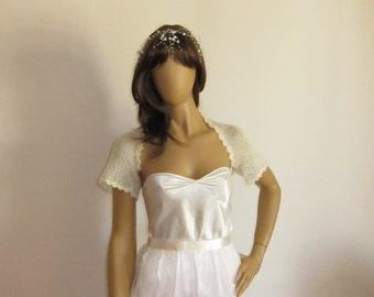 Cream Bolero, Pearl Bolero, Bridal Shrug, Short Sleeve Shrug, Evening Shrug, Bridesmaid Shawl