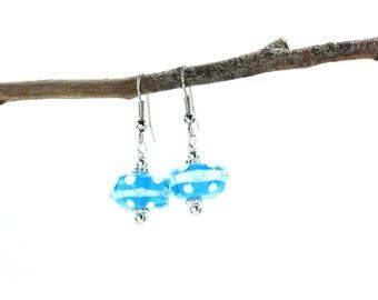 Blue Lampwork Beads, Beaded Earrings, Blue Glass Earrings, Blue Lampwork Earrings, Blue Crystal Earrings, Lampwork Bead, Beaded jewelry,
