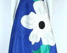 AMAROTICO/GERMANY 1980ies Vintage Electric Blue Silk Taffeta large Flower Application Showstopper T-Strap Ball Evening Gown Dress, Size S
