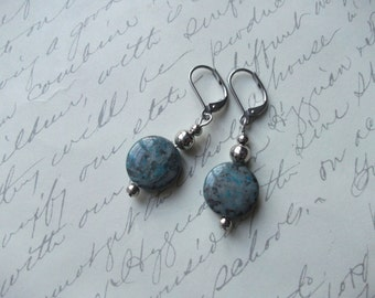 Blue crazy lace agate stone earrings