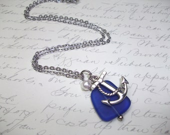Cobalt blue seaglass necklace with anchor and pearl