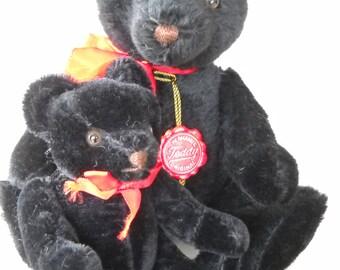 2 Vintage West German Made Hermann Original Jointed Black Teddy Bear Growler, & Smaller Jointed Black Bear