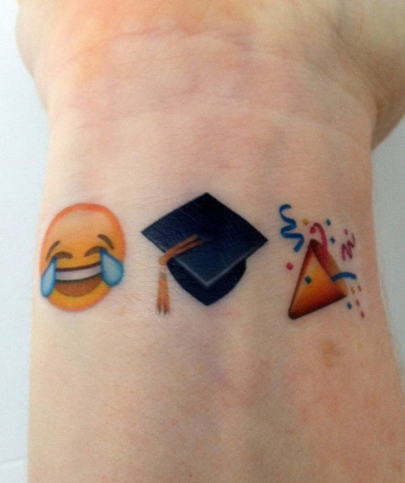 Custom temporary tattoos emoji sets graduation for Custom henna tattoo