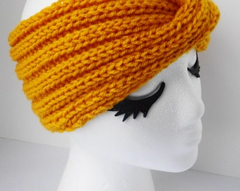 Goldenrod yellow twisted earwarmer