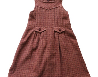FRENCH VINTAGE 70's / kids / winter dress / heavyweight fabric / new old stock / size 10 years