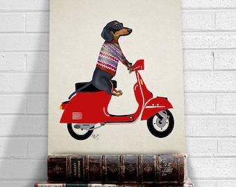 Dachshund print - Dachshund on moped  - dachshund gift doxie dachshund wall art dachshund art dog art dog gift dog lover Whimsical dog doxie