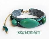 Fabric handmade bracelet- boho fabric cuff bracelet- turquoise gemstone gypsy bracelet