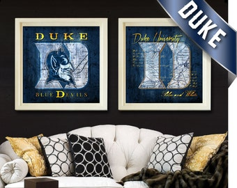 Duke Blue Devils Map Set - Duke University Fight Song - Perfect Alumni, Birthday, Anniversary Gift for Duke Fan - Unframed Prints