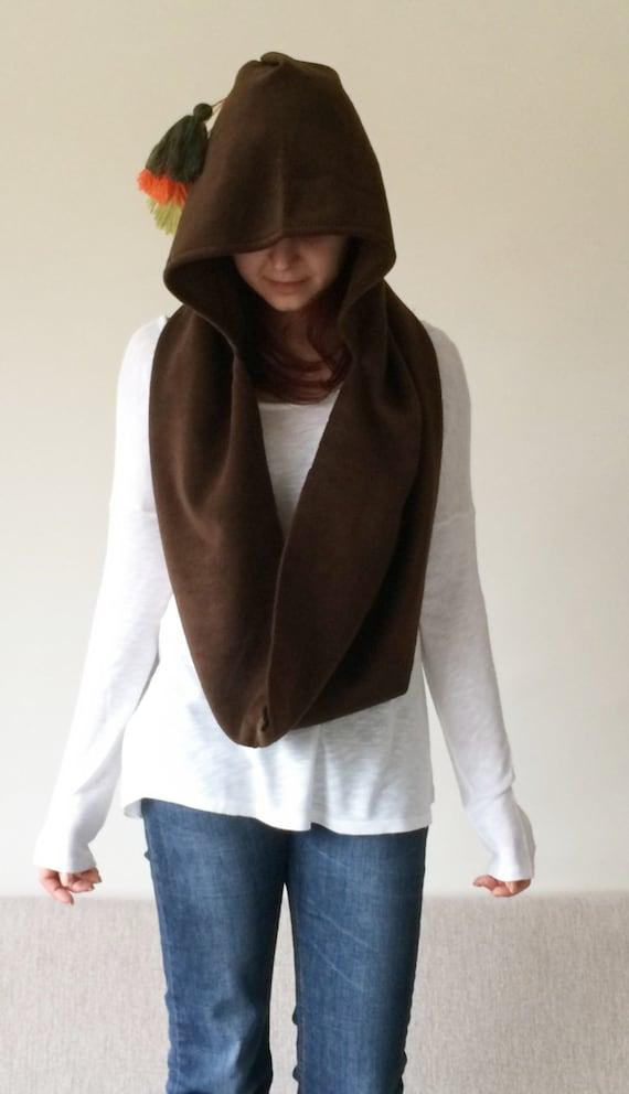 brown hooded scarf polar fleece cozy cowl chunky scarf