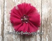 Magenta Pink Frayed Chiffon Flower Hair Clip, Girls Raspberry Hair Bow, Alligator Clip, Hair Accessory, Barrette, Headband Clip, Flower Girl