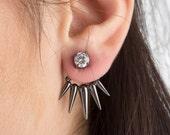 Ear jacket Silver ear jacket, Pearl ear jacket, Double earrings, CZ ear jacket, 925 ear jacket  Trendy earrings, Gold earrings