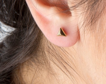 Silver pyramid studs, 925 pyramid earrings, Gold pyramid posts, Rose pyramid studs, Pyramid earrings,Pyramid studs