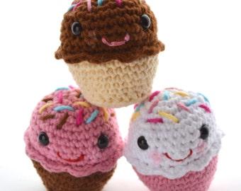 Cupcake play food set - amigurumi style crochet toy dessert - Set of 3 , birthday gift
