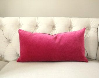 Raspberry Velvet Pillow Cover - CHOOSE YOUR SIZE