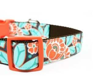 Coral and Teal Floral Dog Collar Orange Turquoise Flower Girly Girl Dog Collar - Amelia