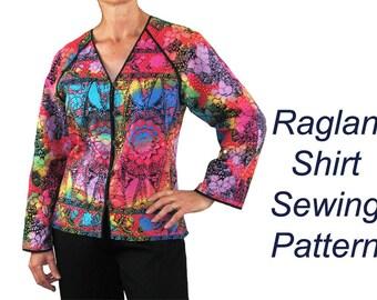 Raglan Topper Sewing Pattern, Raglan Sleeve Pattern, BSS116