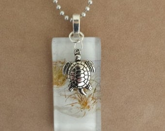 Glass Tile Beach Necklace with silver turtle charm