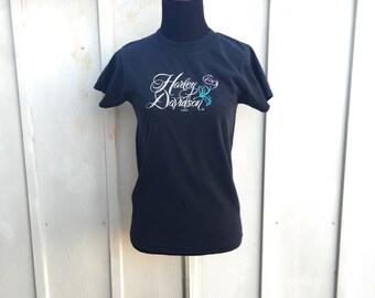 Harley Davidson Shirt, Sturgis Tee, 90s Top, Grunge Shirt, Distressed Black T Shirt, Motorcycle Tee, Biker Babe, Moto Shirt, Faded Shirt